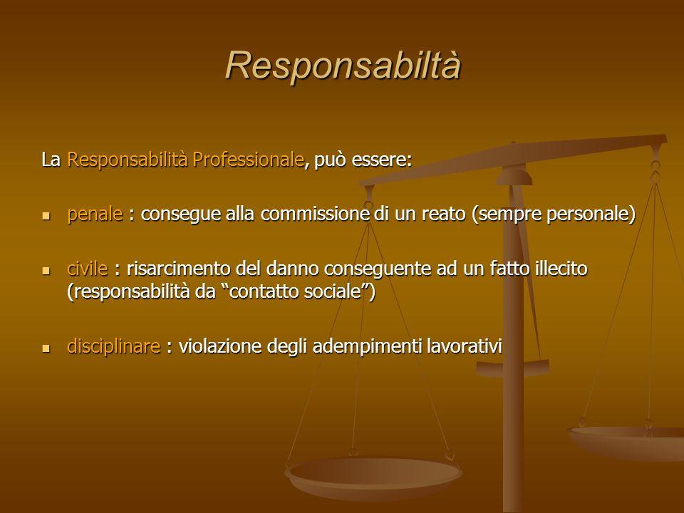 Responsabiltà La Responsabilità Professionale, può essere: penale : consegue alla commissione di un reato (sempre personale) penale : consegue alla co