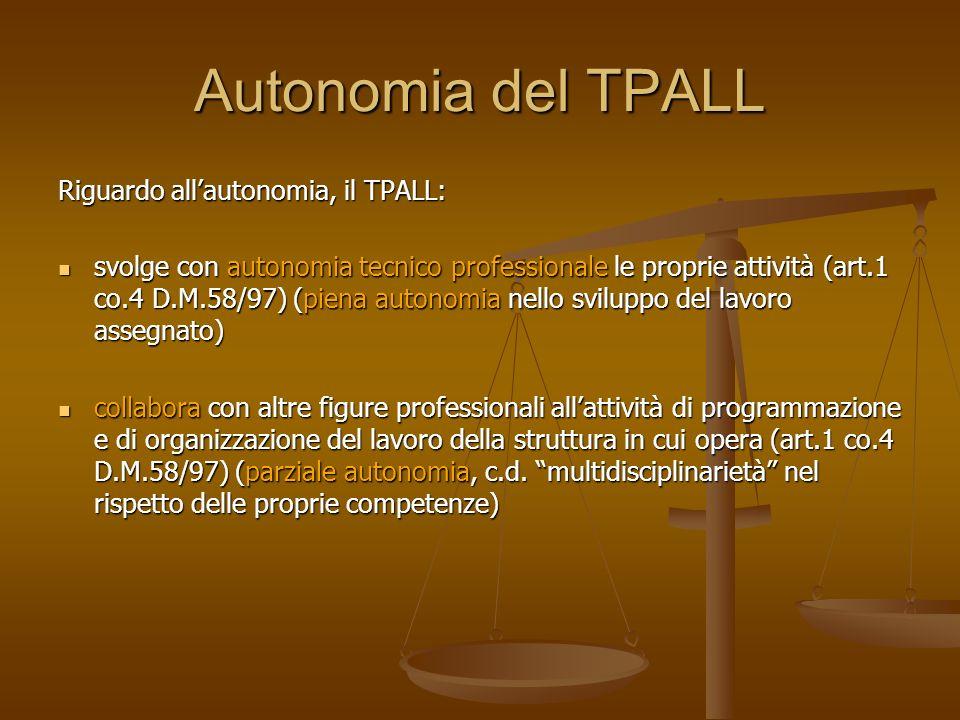 Autonomia del TPALL Riguardo allautonomia, il TPALL: svolge con autonomia tecnico professionale le proprie attività (art.1 co.4 D.M.58/97) (piena auto