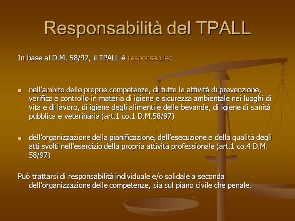 Responsabilità del TPALL In base al D.M. 58/97, il TPALL è responsabile: nellambito delle proprie competenze, di tutte le attività di prevenzione, ver