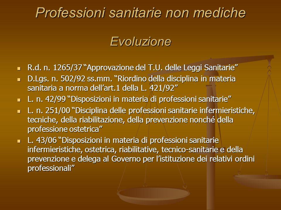 Professioni sanitarie non mediche Evoluzione R.d. n. 1265/37 Approvazione del T.U. delle Leggi Sanitarie R.d. n. 1265/37 Approvazione del T.U. delle L