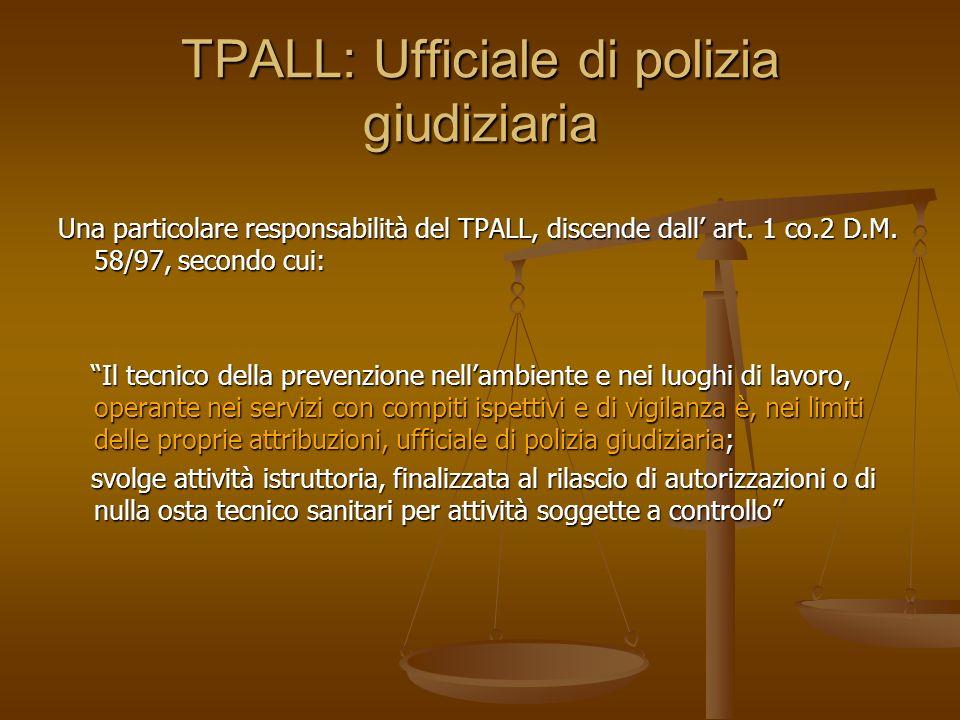 TPALL: Ufficiale di polizia giudiziaria Una particolare responsabilità del TPALL, discende dall art. 1 co.2 D.M. 58/97, secondo cui: Il tecnico della