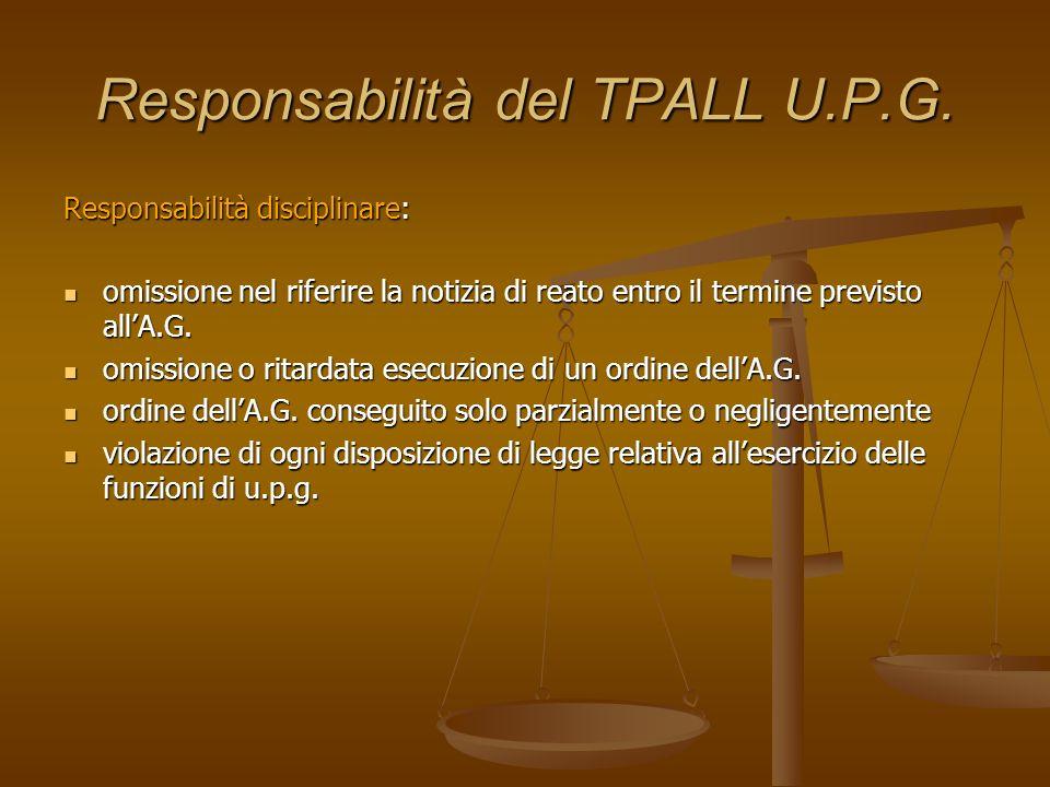 Responsabilità del TPALL U.P.G. Responsabilità disciplinare: omissione nel riferire la notizia di reato entro il termine previsto allA.G. omissione ne