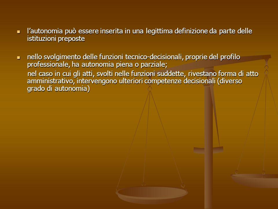 lautonomia può essere inserita in una legittima definizione da parte delle istituzioni preposte lautonomia può essere inserita in una legittima defini