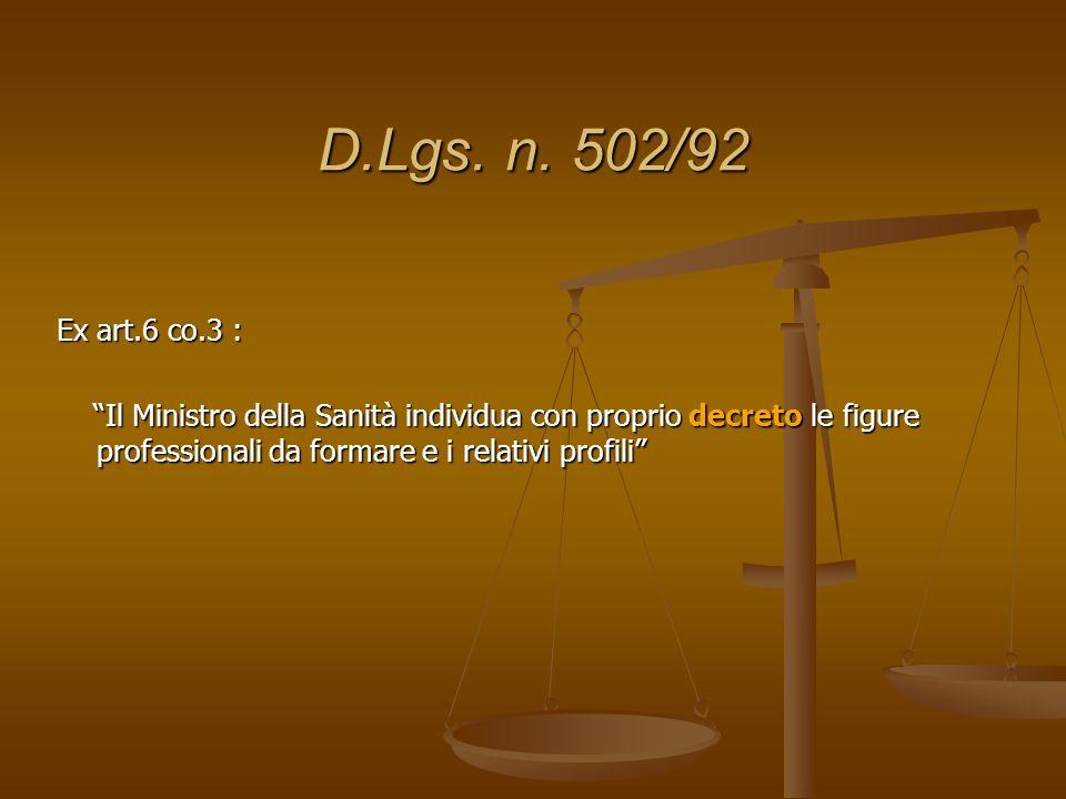 D.Lgs. n. 502/92 Ex art.6 co.3 : Il Ministro della Sanità individua con proprio decreto le figure professionali da formare e i relativi profili Il Min