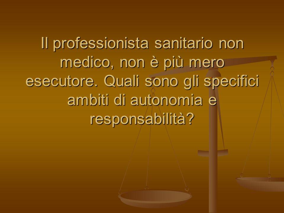 Il professionista sanitario non medico, non è più mero esecutore. Quali sono gli specifici ambiti di autonomia e responsabilità?
