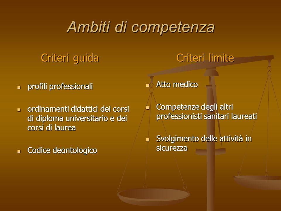 Ambiti di competenza Criteri guida Criteri guida profili professionali profili professionali ordinamenti didattici dei corsi di diploma universitario