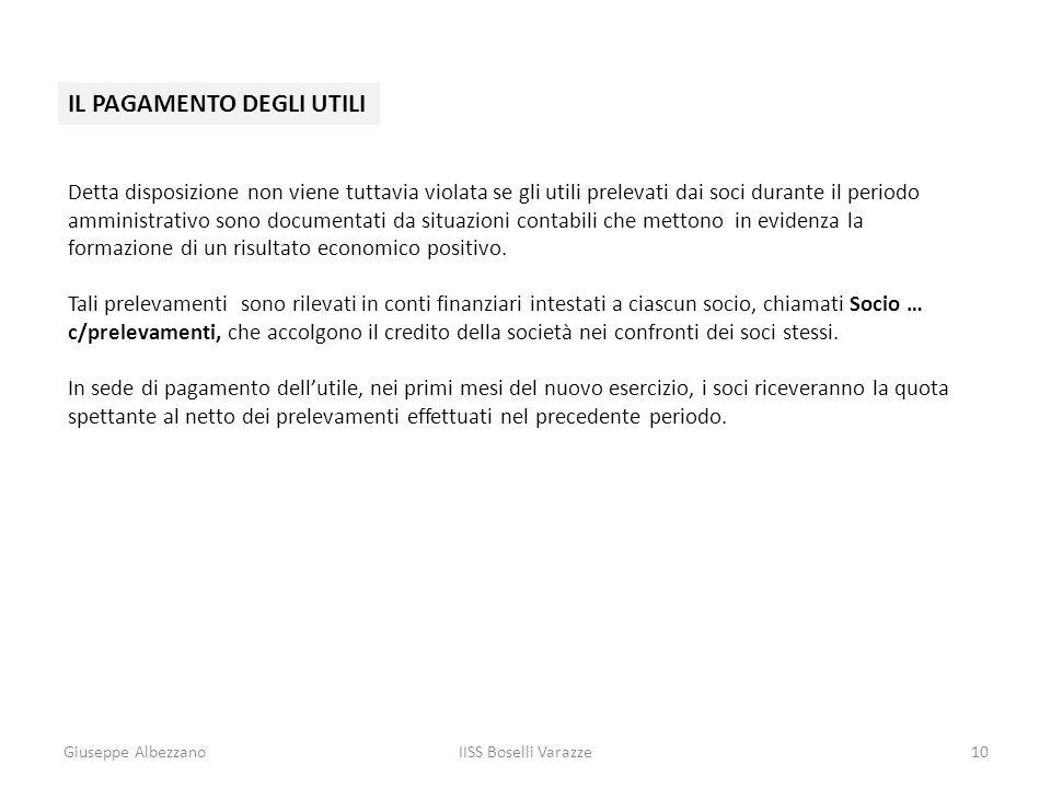 Giuseppe AlbezzanoIISS Boselli Varazze10 IL PAGAMENTO DEGLI UTILI Detta disposizione non viene tuttavia violata se gli utili prelevati dai soci durant