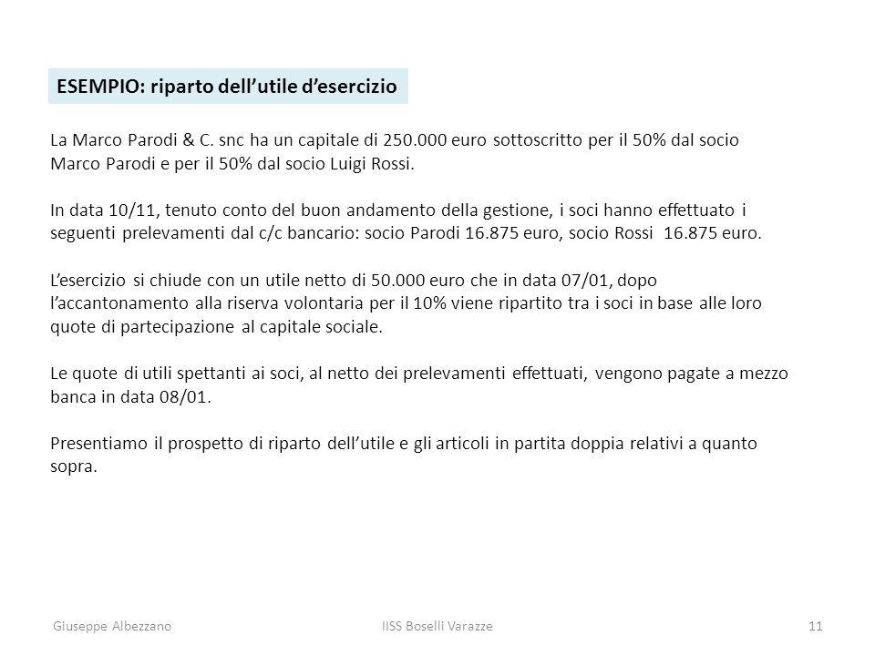 Giuseppe AlbezzanoIISS Boselli Varazze11 ESEMPIO: riparto dellutile desercizio La Marco Parodi & C. snc ha un capitale di 250.000 euro sottoscritto pe