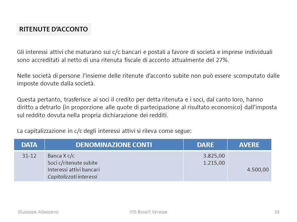 Giuseppe AlbezzanoIISS Boselli Varazze14 RITENUTE DACCONTO Gli interessi attivi che maturano sui c/c bancari e postali a favore di società e imprese i