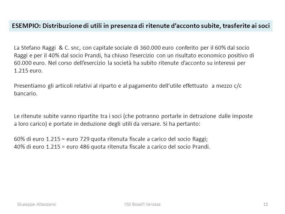 Giuseppe AlbezzanoIISS Boselli Varazze15 ESEMPIO: Distribuzione di utili in presenza di ritenute dacconto subite, trasferite ai soci La Stefano Raggi