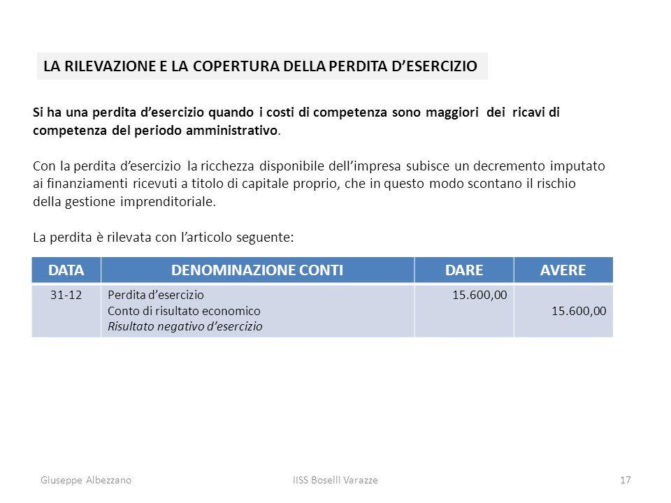 Giuseppe AlbezzanoIISS Boselli Varazze17 LA RILEVAZIONE E LA COPERTURA DELLA PERDITA DESERCIZIO Si ha una perdita desercizio quando i costi di compete