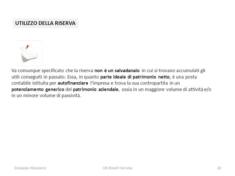 Giuseppe AlbezzanoIISS Boselli Varazze20 UTILIZZO DELLA RISERVA Va comunque specificato che la riserva non è un salvadanaio in cui si trovano accumula