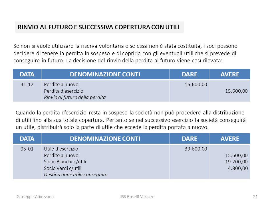 Giuseppe AlbezzanoIISS Boselli Varazze21 RINVIO AL FUTURO E SUCCESSIVA COPERTURA CON UTILI Se non si vuole utilizzare la riserva volontaria o se essa