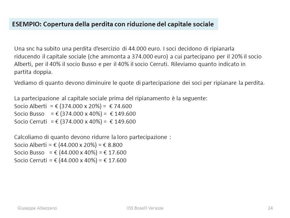 Giuseppe AlbezzanoIISS Boselli Varazze24 ESEMPIO: Copertura della perdita con riduzione del capitale sociale Una snc ha subito una perdita desercizio