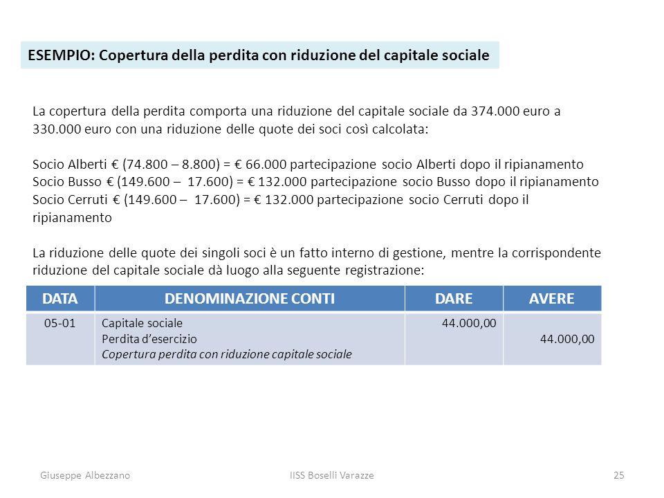 Giuseppe AlbezzanoIISS Boselli Varazze25 ESEMPIO: Copertura della perdita con riduzione del capitale sociale La copertura della perdita comporta una r