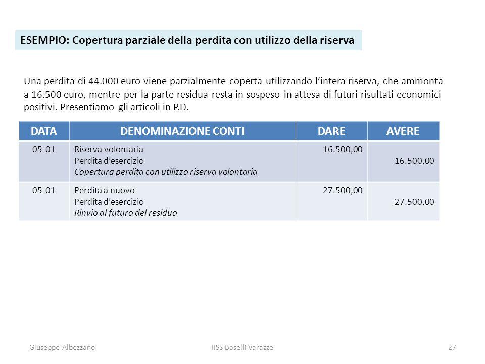 Giuseppe AlbezzanoIISS Boselli Varazze27 ESEMPIO: Copertura parziale della perdita con utilizzo della riserva Una perdita di 44.000 euro viene parzial