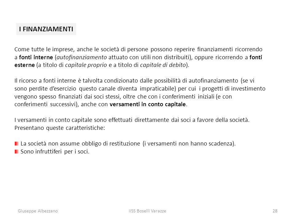 Giuseppe AlbezzanoIISS Boselli Varazze28 I FINANZIAMENTI Come tutte le imprese, anche le società di persone possono reperire finanziamenti ricorrendo