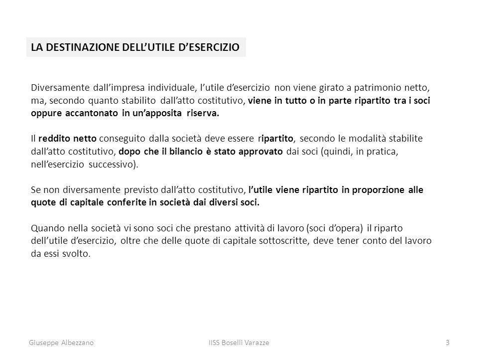 Giuseppe AlbezzanoIISS Boselli Varazze3 LA DESTINAZIONE DELLUTILE DESERCIZIO Diversamente dallimpresa individuale, lutile desercizio non viene girato