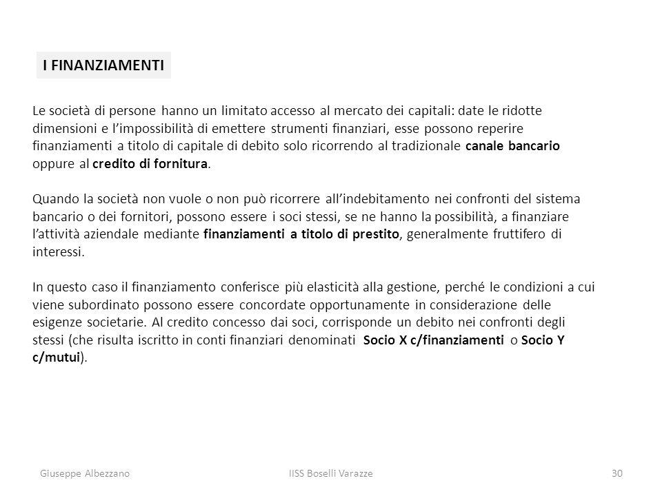 Giuseppe AlbezzanoIISS Boselli Varazze30 I FINANZIAMENTI Le società di persone hanno un limitato accesso al mercato dei capitali: date le ridotte dime