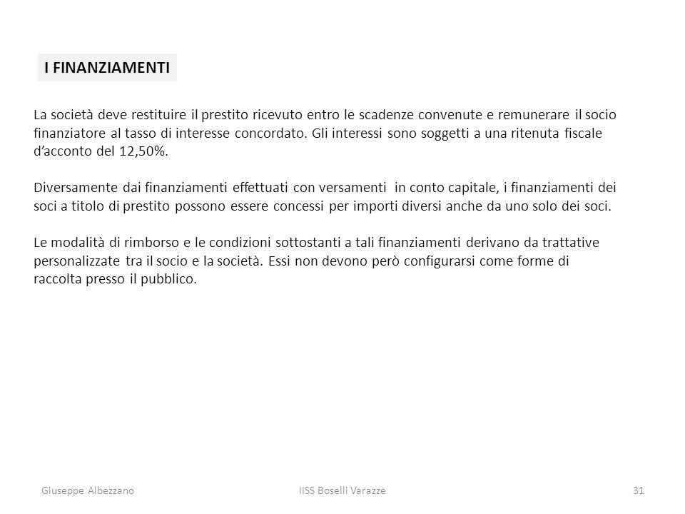 Giuseppe AlbezzanoIISS Boselli Varazze31 I FINANZIAMENTI La società deve restituire il prestito ricevuto entro le scadenze convenute e remunerare il s