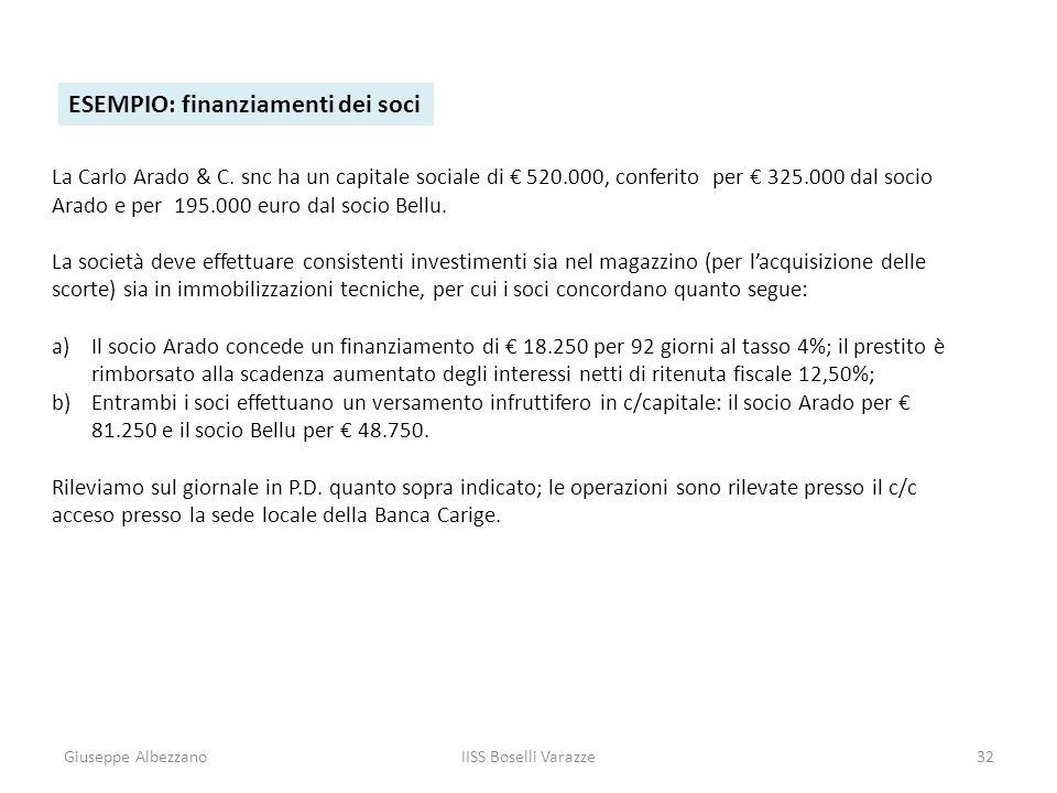 Giuseppe AlbezzanoIISS Boselli Varazze32 ESEMPIO: finanziamenti dei soci La Carlo Arado & C. snc ha un capitale sociale di 520.000, conferito per 325.