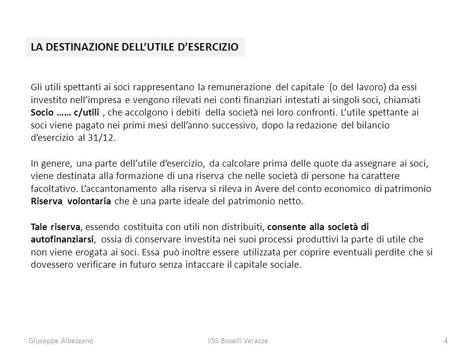 Giuseppe AlbezzanoIISS Boselli Varazze4 LA DESTINAZIONE DELLUTILE DESERCIZIO Gli utili spettanti ai soci rappresentano la remunerazione del capitale (