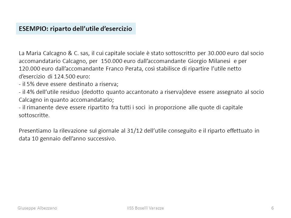 Giuseppe AlbezzanoIISS Boselli Varazze6 ESEMPIO: riparto dellutile desercizio La Maria Calcagno & C. sas, il cui capitale sociale è stato sottoscritto