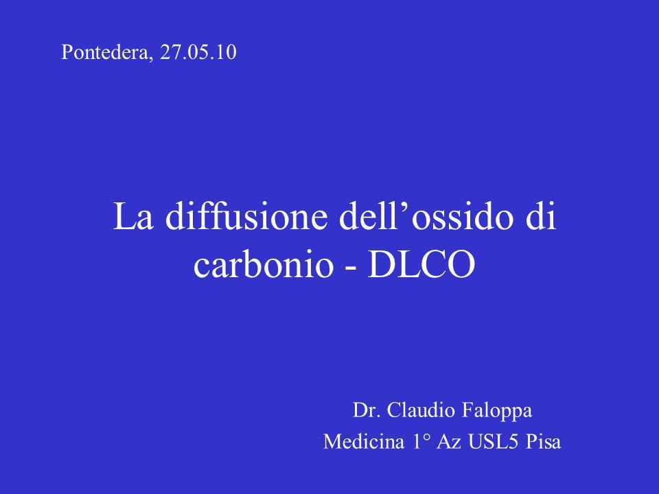 La diffusione dellossido di carbonio - DLCO Dr. Claudio Faloppa Medicina 1° Az USL5 Pisa Pontedera, 27.05.10