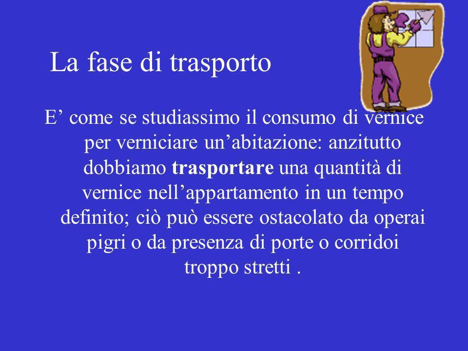 La fase di trasporto E come se studiassimo il consumo di vernice per verniciare unabitazione: anzitutto dobbiamo trasportare una quantità di vernice n