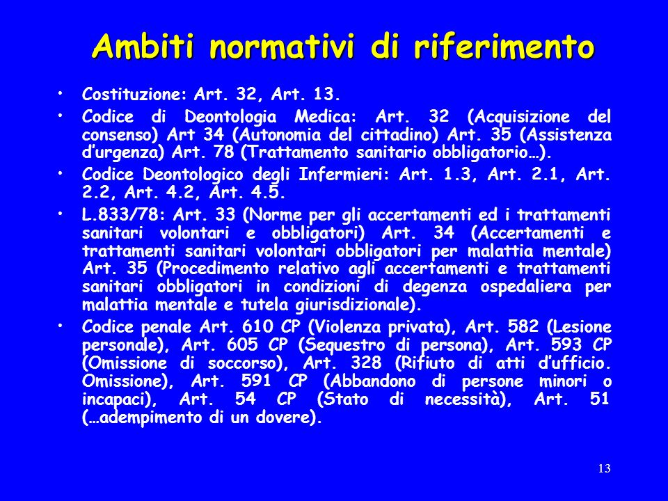 13 Ambiti normativi di riferimento Costituzione: Art.