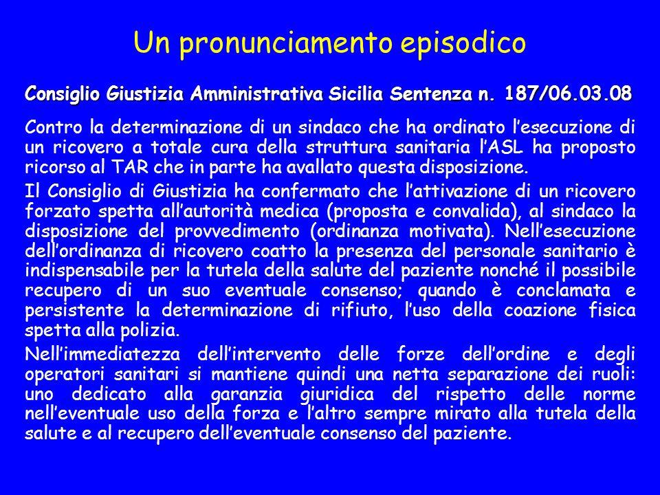 Un pronunciamento episodico Consiglio Giustizia Amministrativa Sicilia Sentenza n.