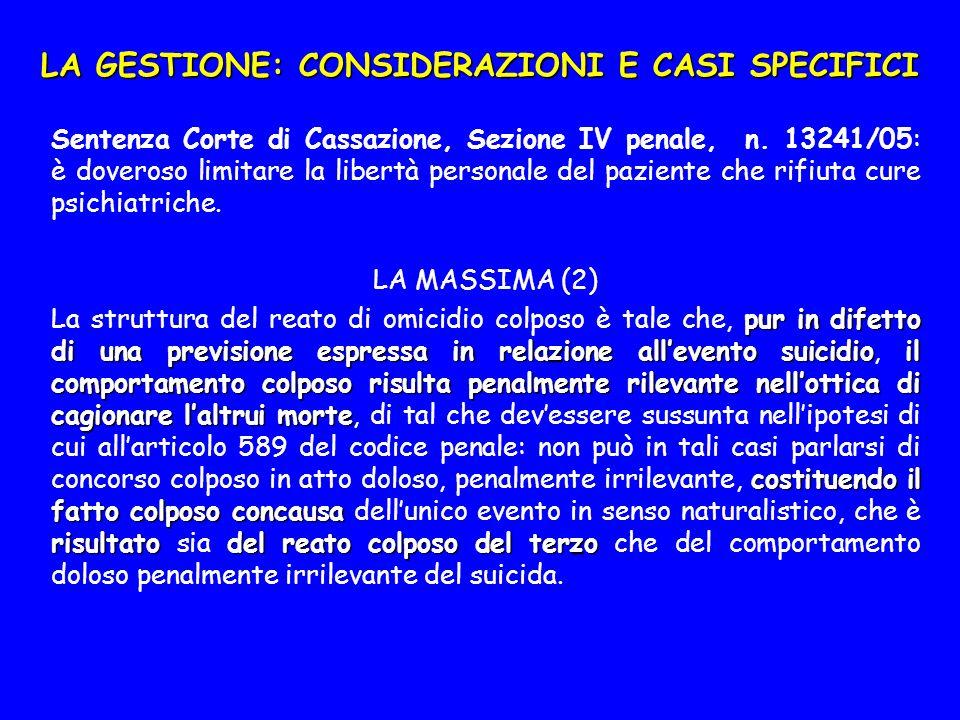 LA GESTIONE: CONSIDERAZIONI E CASI SPECIFICI Sentenza Corte di Cassazione, Sezione IV penale, n.