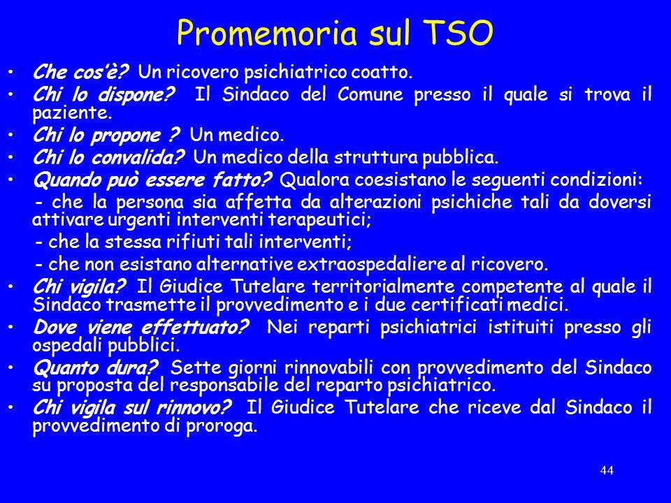 44 Promemoria sul TSO Che cosè.Un ricovero psichiatrico coatto.