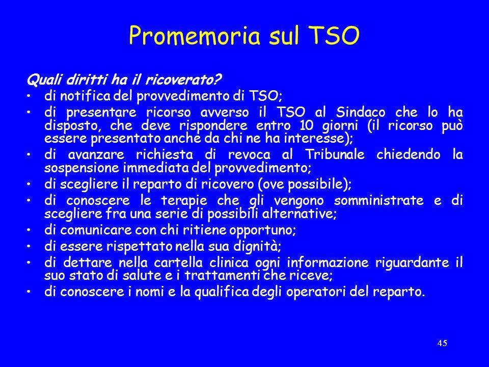45 Promemoria sul TSO Quali diritti ha il ricoverato.