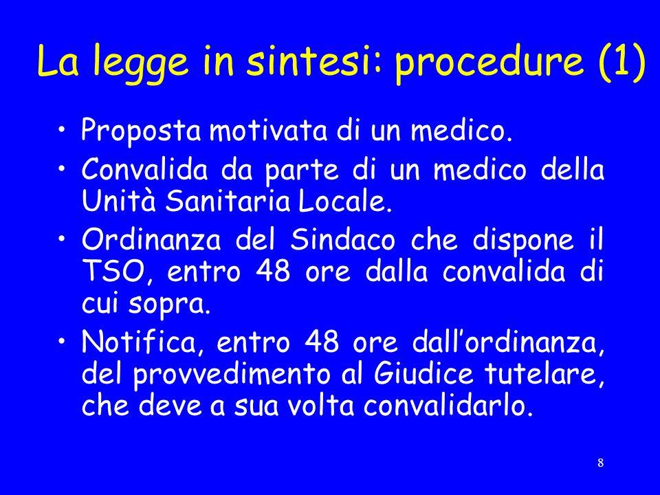 8 La legge in sintesi: procedure (1) Proposta motivata di un medico.