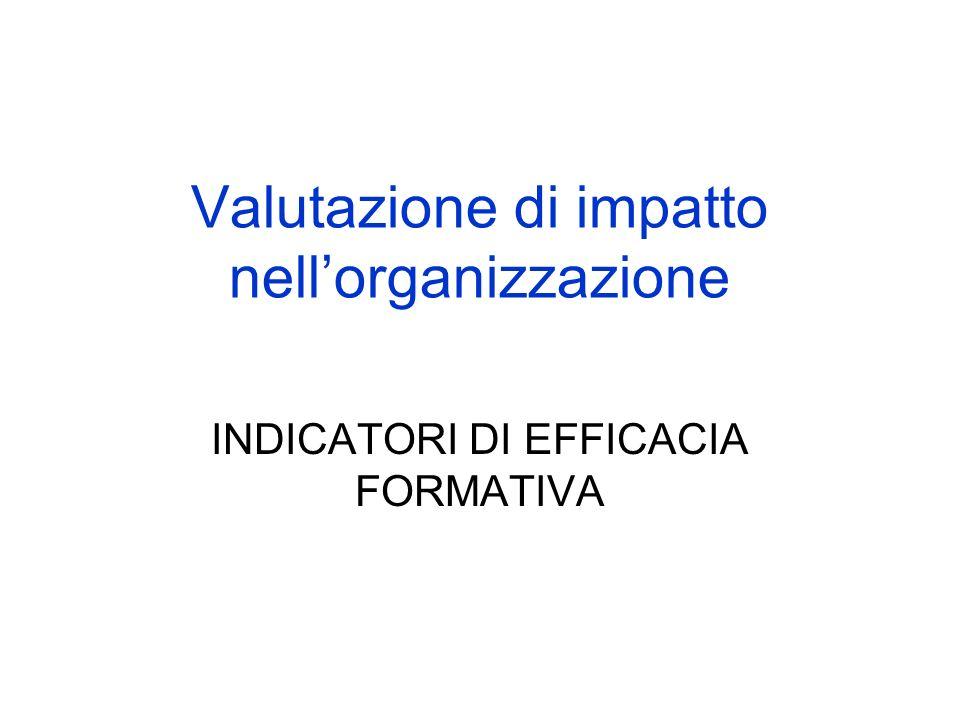 Valutazione di impatto nellorganizzazione INDICATORI DI EFFICACIA FORMATIVA