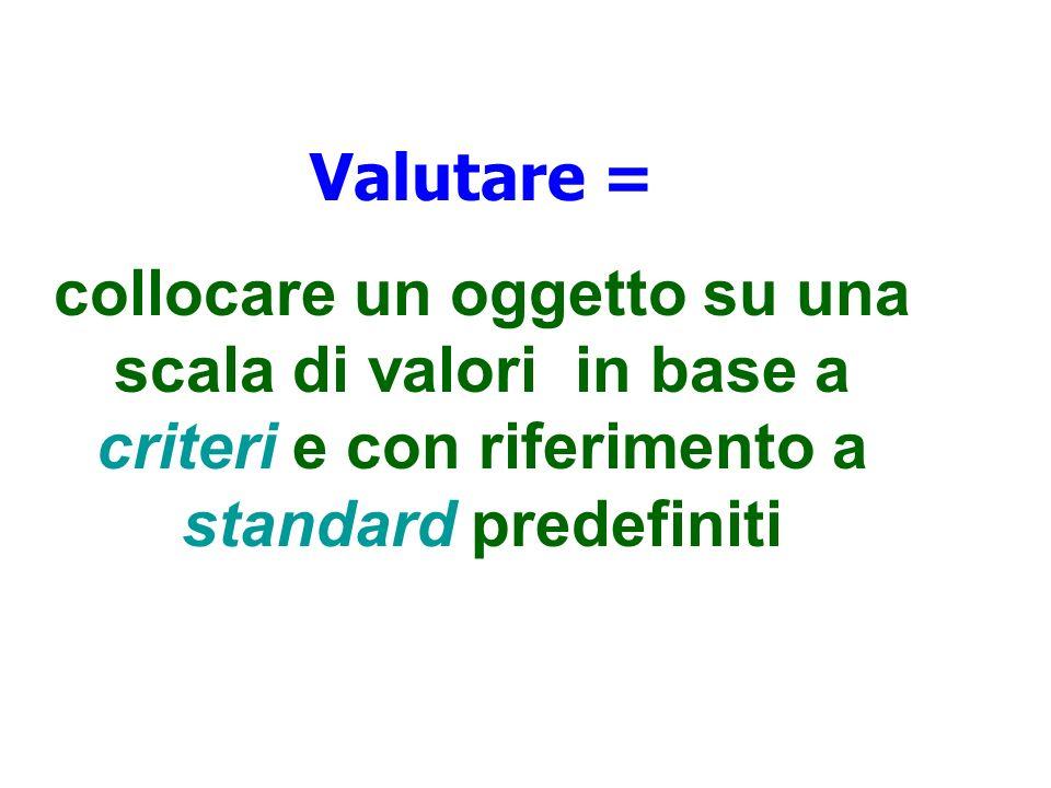 Valutare = collocare un oggetto su una scala di valori in base a criteri e con riferimento a standard predefiniti