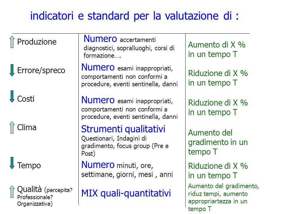 indicatori e standard per la valutazione di : Produzione Errore/spreco Costi Clima Tempo Qualità ( percepita? Professionale? Organizzativa) Numero acc