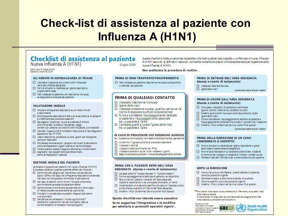 Check-list di assistenza al paziente con Influenza A (H1N1)
