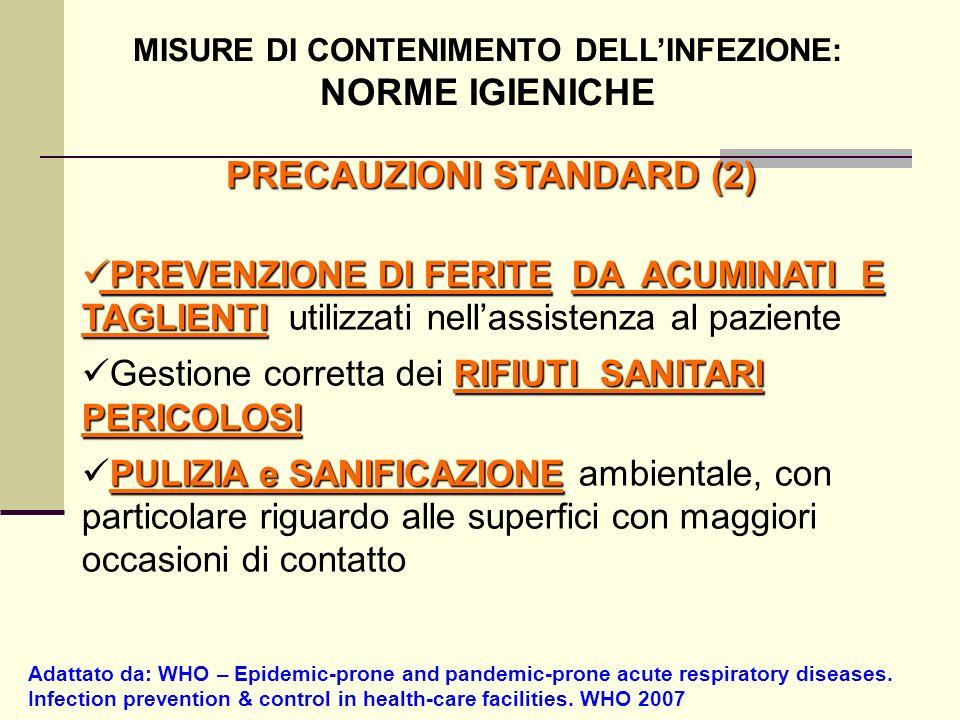 PRECAUZIONI STANDARD (2) Adattato da: WHO – Epidemic-prone and pandemic-prone acute respiratory diseases. Infection prevention & control in health-car