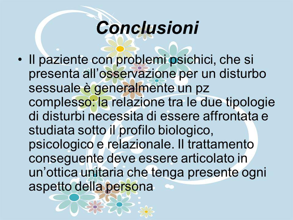 Conclusioni Il paziente con problemi psichici, che si presenta allosservazione per un disturbo sessuale è generalmente un pz complesso: la relazione t