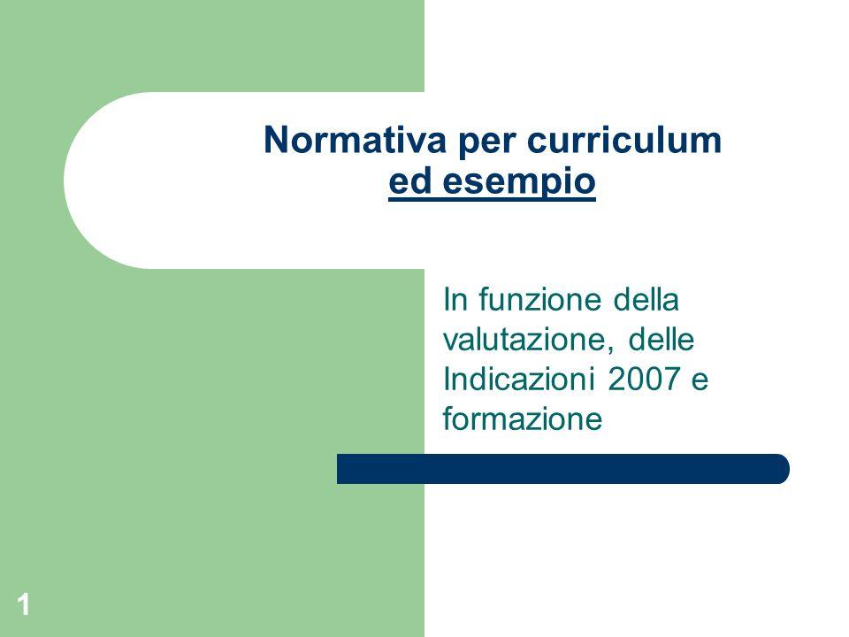 1 Normativa per curriculum ed esempio ed esempio In funzione della valutazione, delle Indicazioni 2007 e formazione