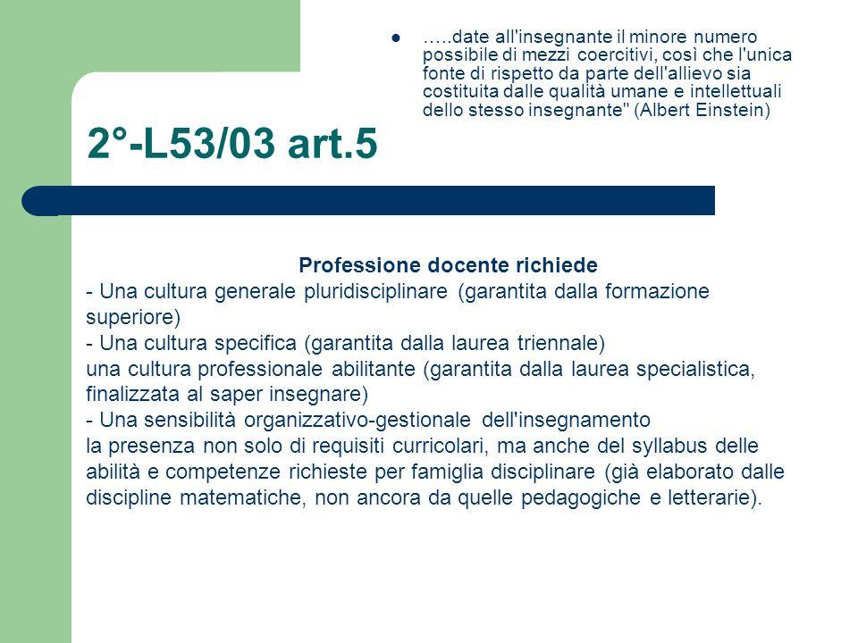 2°-L53/03 art.5 …..date all'insegnante il minore numero possibile di mezzi coercitivi, così che l'unica fonte di rispetto da parte dell'allievo sia co