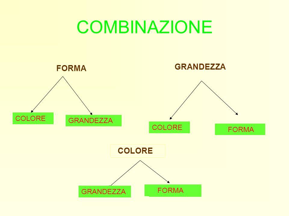 COMBINAZIONE FORMA COLORE GRANDEZZA COLORE FORMA COLORE GRANDEZZA FORMA