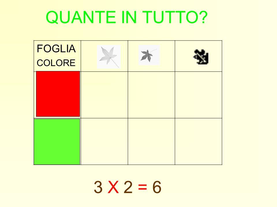 QUANTE IN TUTTO? FOGLIA COLORE 3 X 2 = 6