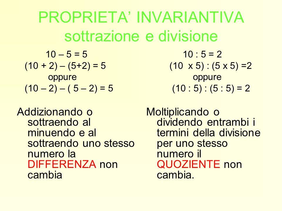 PROPRIETA INVARIANTIVA sottrazione e divisione 10 – 5 = 5 (10 + 2) – (5+2) = 5 oppure (10 – 2) – ( 5 – 2) = 5 Addizionando o sottraendo al minuendo e