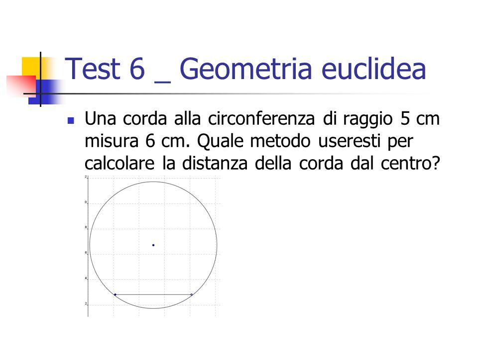Test 6 _ Geometria euclidea Una corda alla circonferenza di raggio 5 cm misura 6 cm. Quale metodo useresti per calcolare la distanza della corda dal c