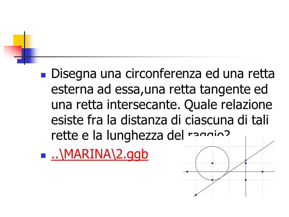 Disegna una circonferenza ed una retta esterna ad essa,una retta tangente ed una retta intersecante. Quale relazione esiste fra la distanza di ciascun