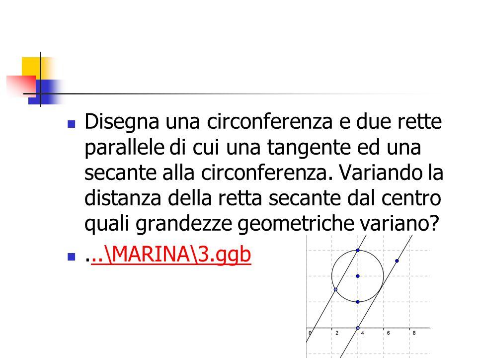 Disegna una circonferenza e due rette parallele di cui una tangente ed una secante alla circonferenza. Variando la distanza della retta secante dal ce