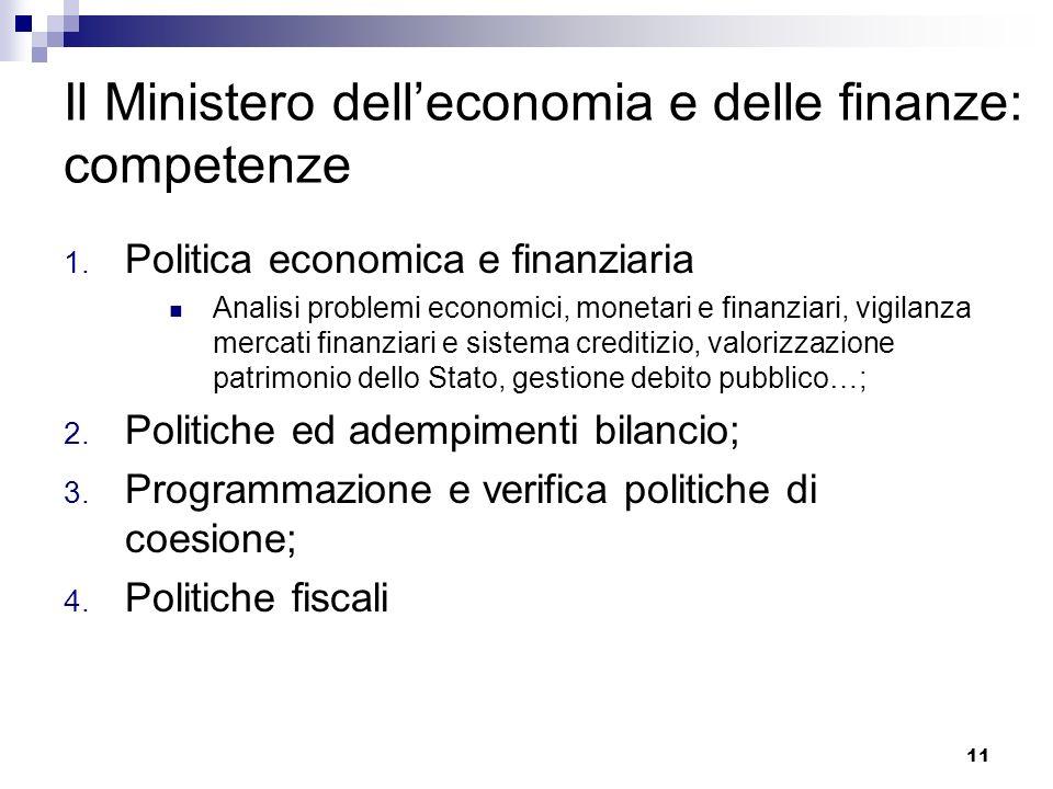 11 Il Ministero delleconomia e delle finanze: competenze 1. Politica economica e finanziaria Analisi problemi economici, monetari e finanziari, vigila